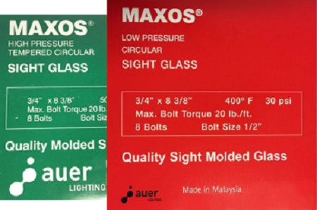 Maxos® Safety Sight Glass Low Pressure - Red Box (400°F Max Temp.) High Pressure - Green Box (Tempered, 500°F Max Temp.)